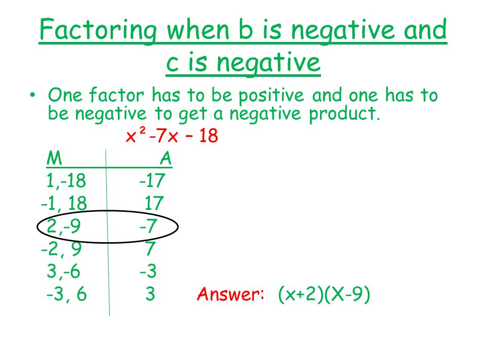 Factoring when b is negative and c is negative One factor has to be positive and one has to be negative to get a negative product.