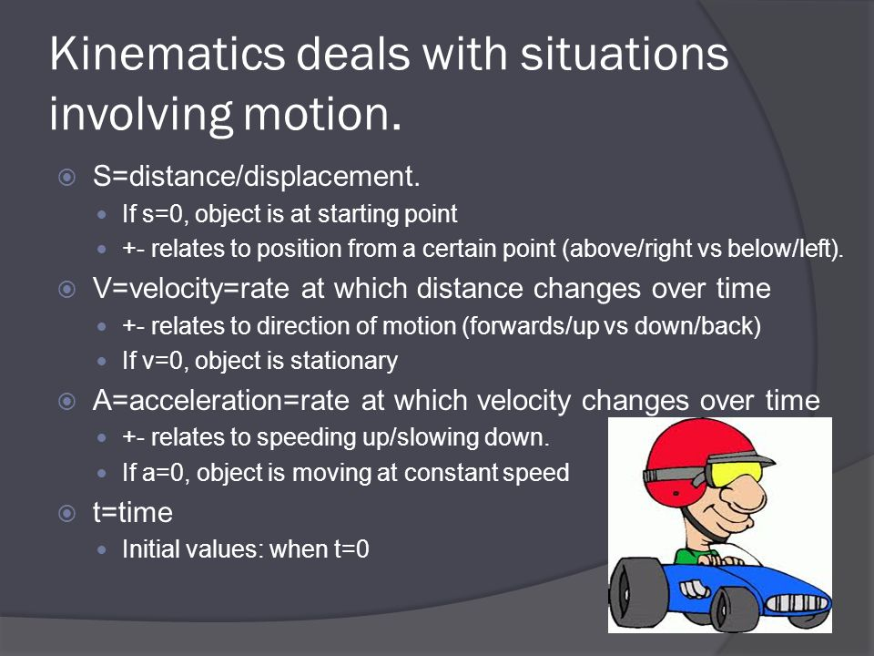 Kinematics deals with situations involving motion.  S=distance/displacement. If s=0, object is at starting point +- relates to position from a certai
