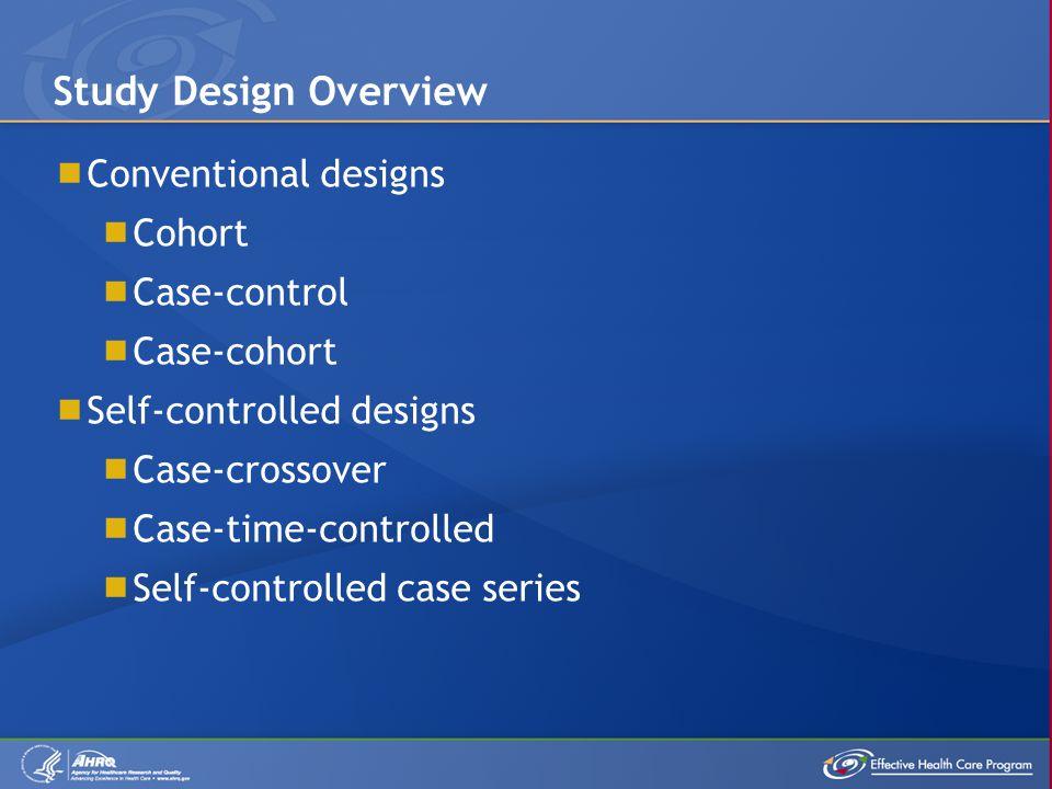  Conventional designs  Cohort  Case-control  Case-cohort  Self-controlled designs  Case-crossover  Case-time-controlled  Self-controlled case