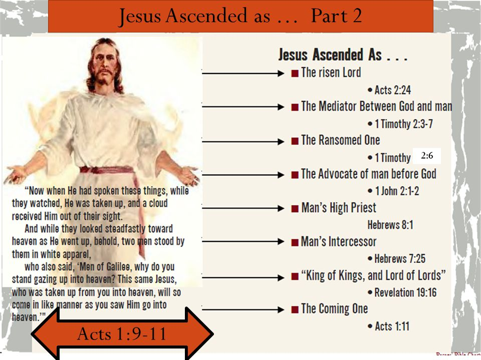 Jesus Ascended as … Part 2 Acts 1:9-11 2:6