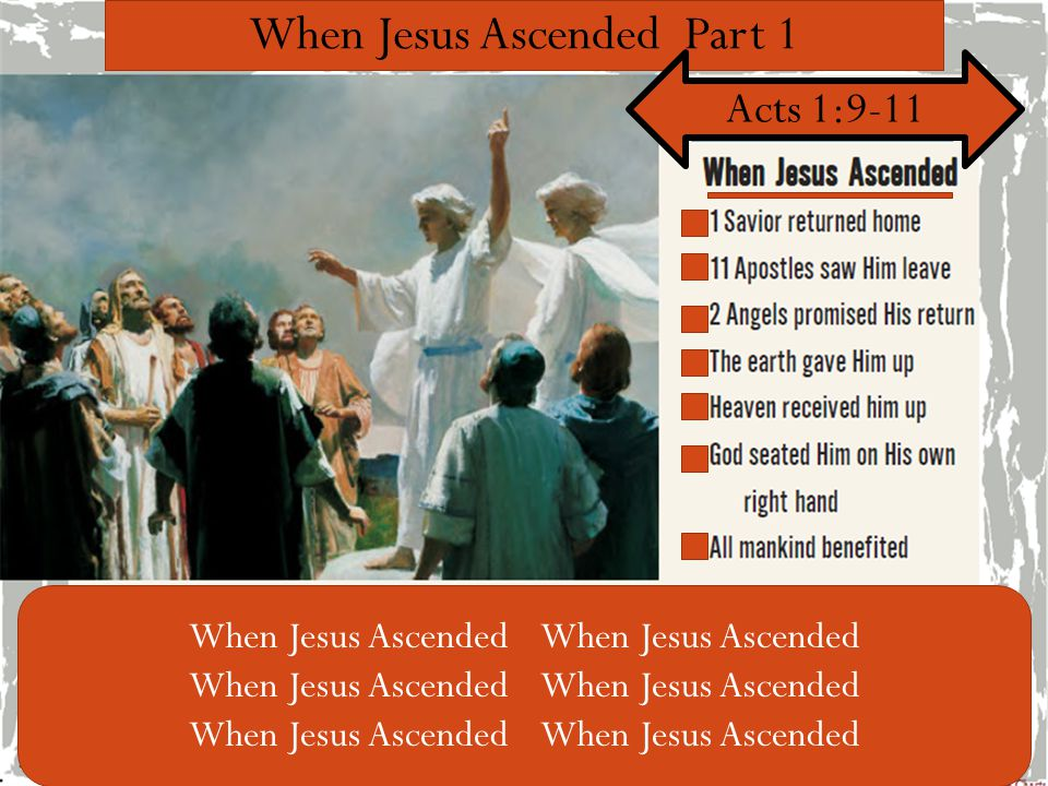 When Jesus Ascended Part 1 Acts 1:9-11 1 Savior returned home