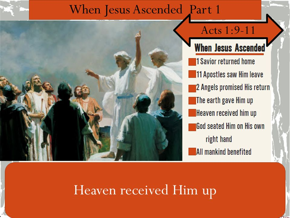 When Jesus Ascended Part 1 Acts 1:9-11 Heaven received Him up