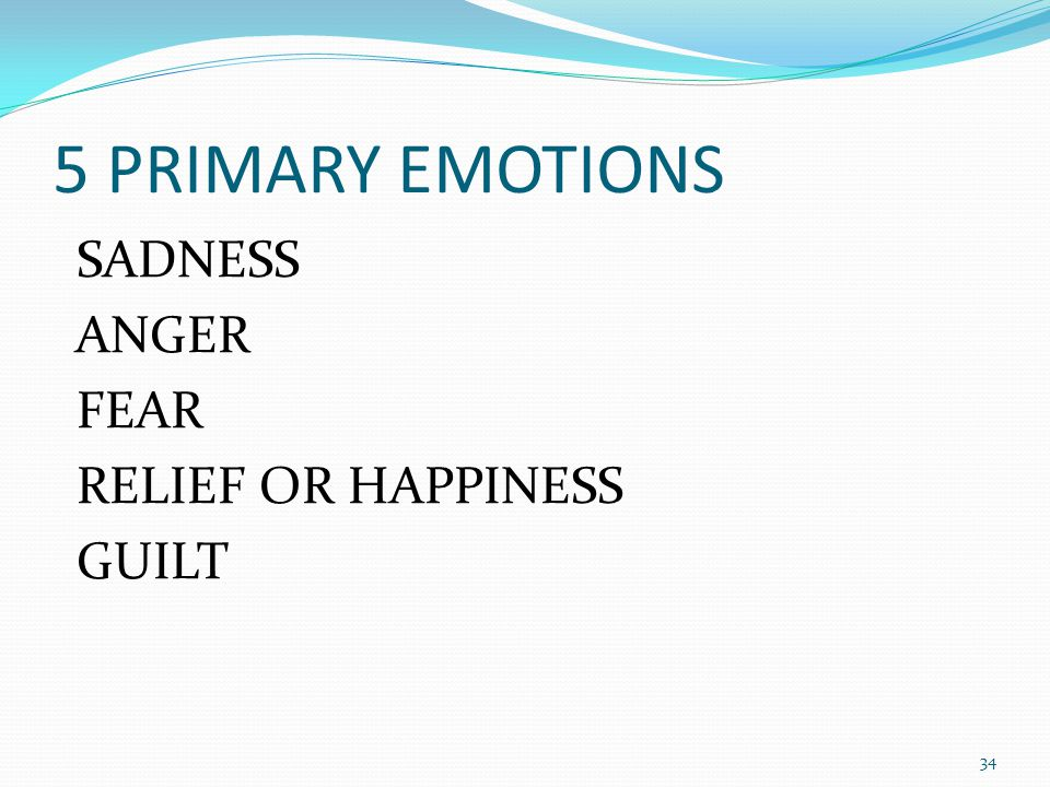 5 PRIMARY EMOTIONS SADNESS ANGER FEAR RELIEF OR HAPPINESS GUILT 34
