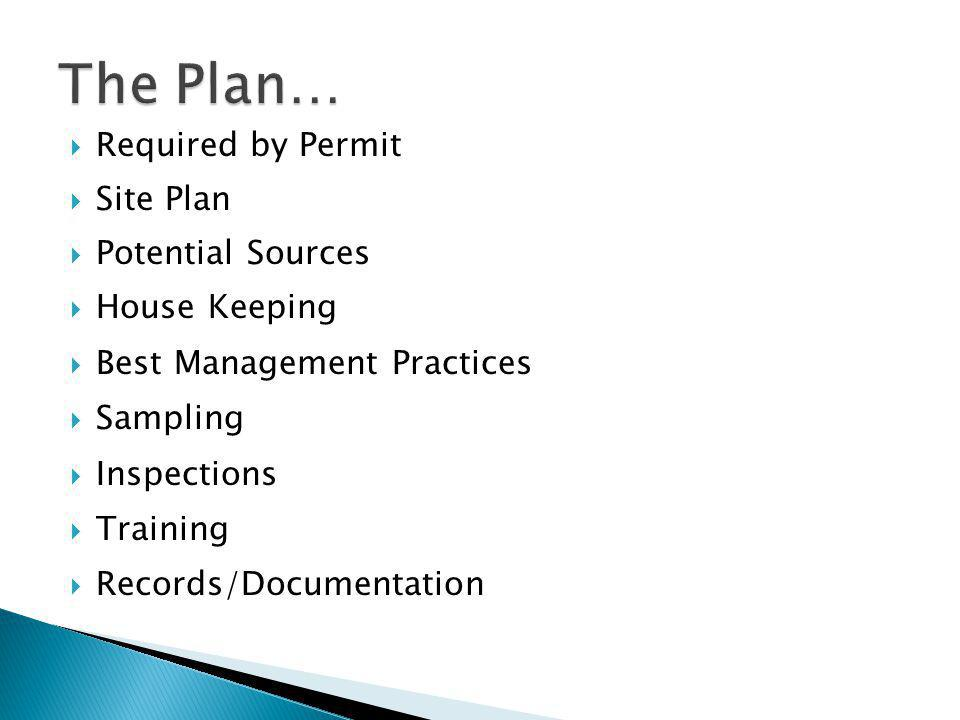  Required by Permit  Site Plan  Potential Sources  House Keeping  Best Management Practices  Sampling  Inspections  Training  Records/Documentation