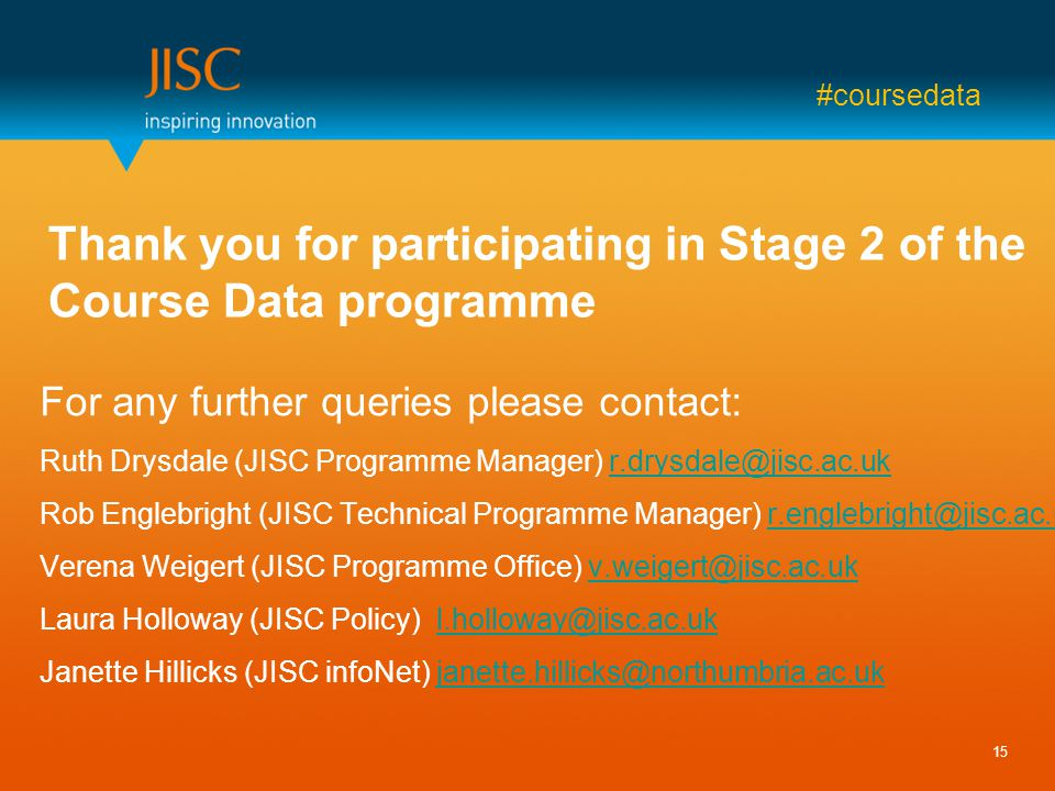 #coursedata Thank you for participating in Stage 2 of the Course Data programme For any further queries please contact: Ruth Drysdale (JISC Programme Manager) r.drysdale@jisc.ac.ukr.drysdale@jisc.ac.uk Rob Englebright (JISC Technical Programme Manager) r.englebright@jisc.ac.ukr.englebright@jisc.ac.uk Verena Weigert (JISC Programme Office) v.weigert@jisc.ac.ukv.weigert@jisc.ac.uk Laura Holloway (JISC Policy) l.holloway@jisc.ac.ukl.holloway@jisc.ac.uk Janette Hillicks (JISC infoNet) janette.hillicks@northumbria.ac.ukjanette.hillicks@northumbria.ac.uk 15