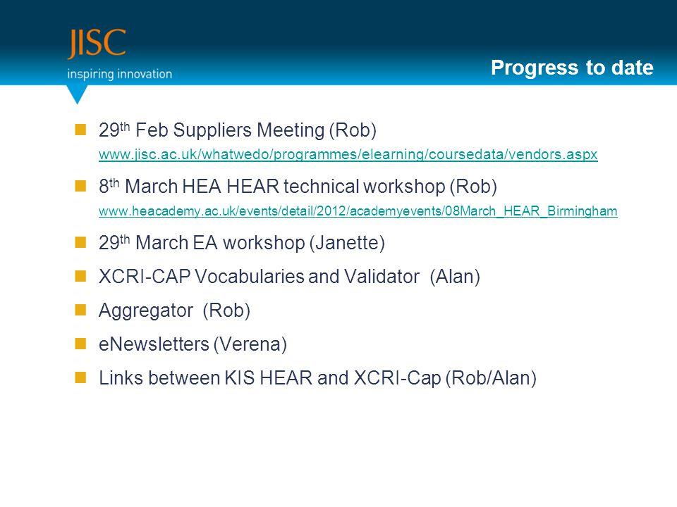 Progress to date 29 th Feb Suppliers Meeting (Rob) www.jisc.ac.uk/whatwedo/programmes/elearning/coursedata/vendors.aspx www.jisc.ac.uk/whatwedo/programmes/elearning/coursedata/vendors.aspx 8 th March HEA HEAR technical workshop (Rob) www.heacademy.ac.uk/events/detail/2012/academyevents/08March_HEAR_Birmingham www.heacademy.ac.uk/events/detail/2012/academyevents/08March_HEAR_Birmingham 29 th March EA workshop (Janette) XCRI-CAP Vocabularies and Validator (Alan) Aggregator (Rob) eNewsletters (Verena) Links between KIS HEAR and XCRI-Cap (Rob/Alan) 7