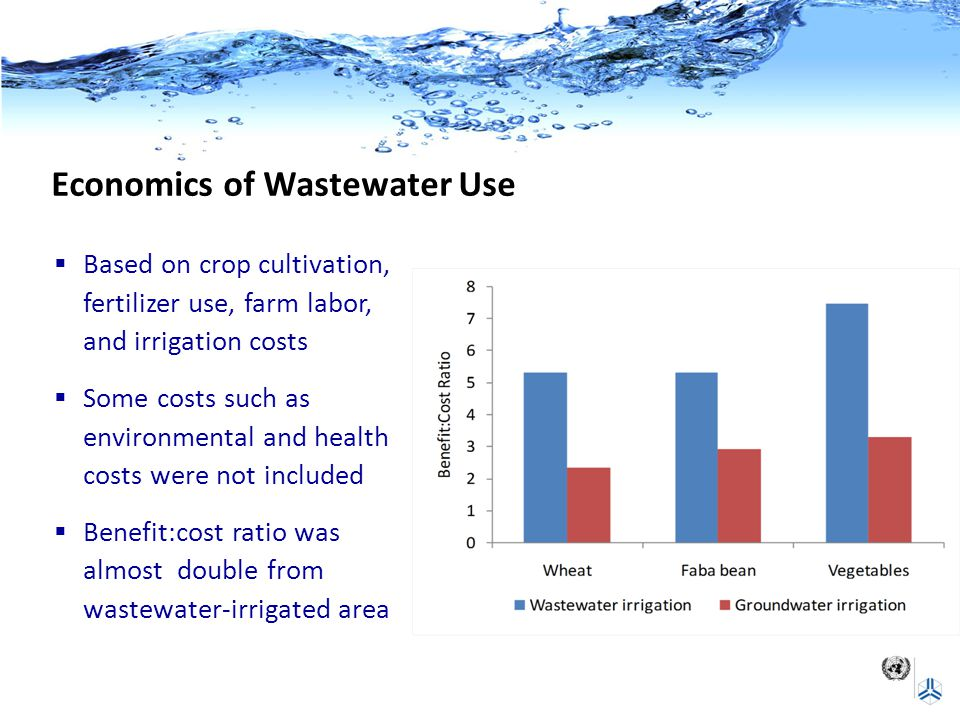 Economics of Wastewater Use  Based on crop cultivation, fertilizer use, farm labor, and irrigation costs  Some costs such as environmental and healt