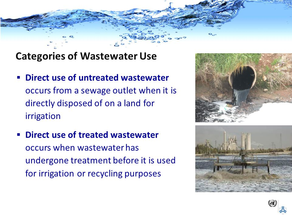 Categories of Wastewater Use  Direct use of untreated wastewater occurs from a sewage outlet when it is directly disposed of on a land for irrigation  Direct use of treated wastewater occurs when wastewater has undergone treatment before it is used for irrigation or recycling purposes