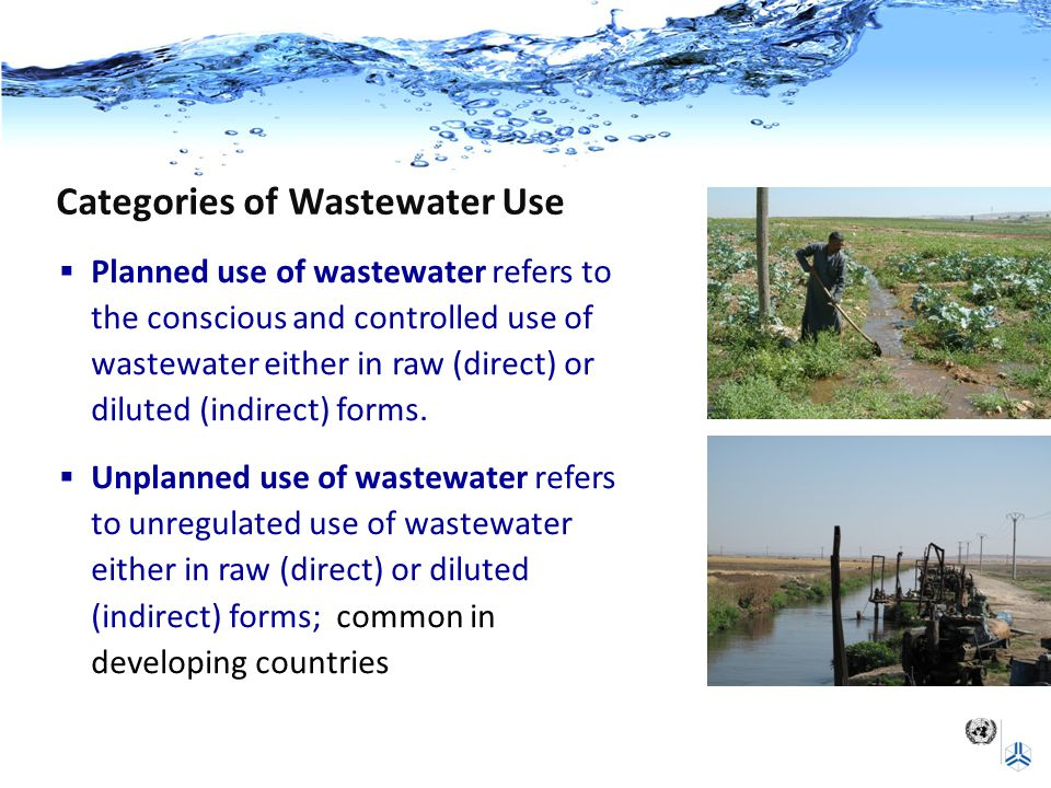 Categories of Wastewater Use  Planned use of wastewater refers to the conscious and controlled use of wastewater either in raw (direct) or diluted (indirect) forms.