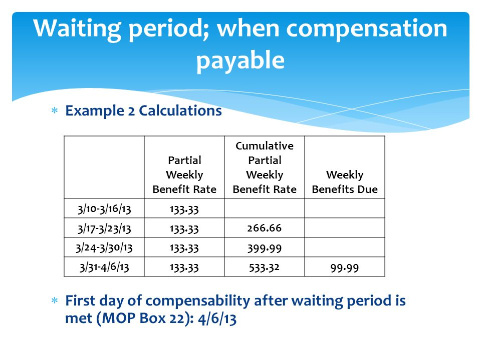  Example 2 Calculations  First day of compensability after waiting period is met (MOP Box 22): 4/6/13 Waiting period; when compensation payable Partial Weekly Benefit Rate Cumulative Partial Weekly Benefit Rate Weekly Benefits Due 3/10-3/16/13133.33 3/17-3/23/13133.33266.66 3/24-3/30/13133.33399.99 3/31-4/6/13133.33533.3299.99