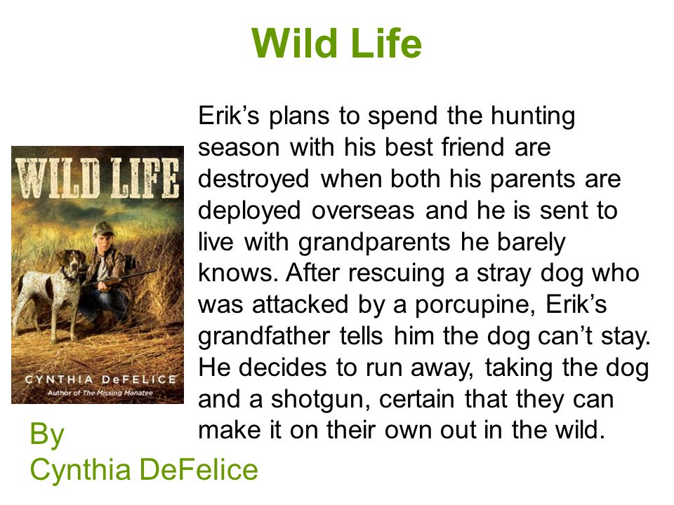 Wild Life By Cynthia DeFelice Erik's plans to spend the hunting season with his best friend are destroyed when both his parents are deployed overseas and he is sent to live with grandparents he barely knows.