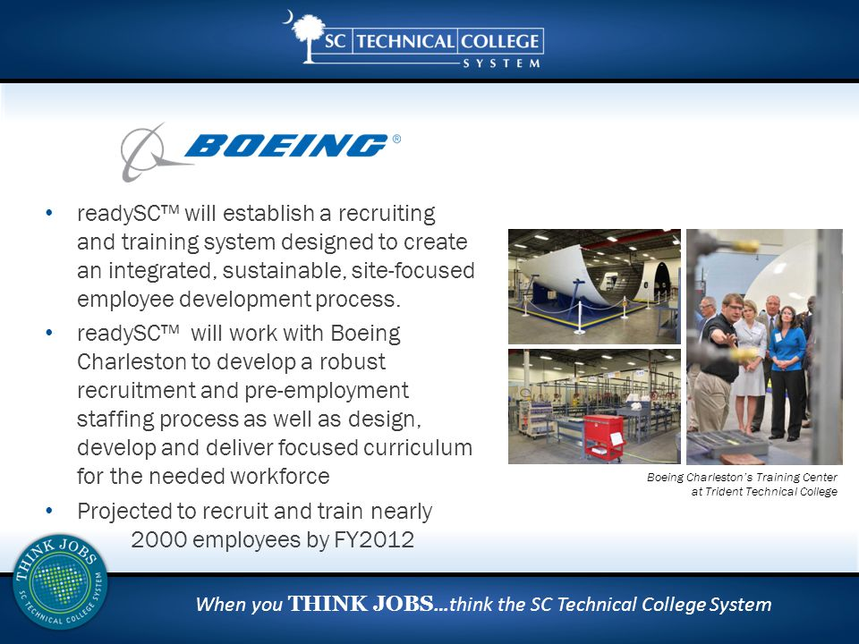 When you THINK JOBS …think the SC Technical College System readySC™ will establish a recruiting and training system designed to create an integrated, sustainable, site-focused employee development process.