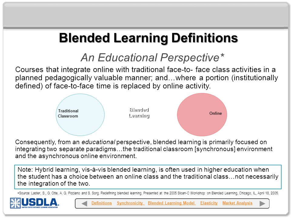 An Educational Perspective* Courses that integrate online with traditional face-to- face class activities in a planned pedagogically valuable manner; and…where a portion (institutionally defined) of face-to-face time is replaced by online activity.