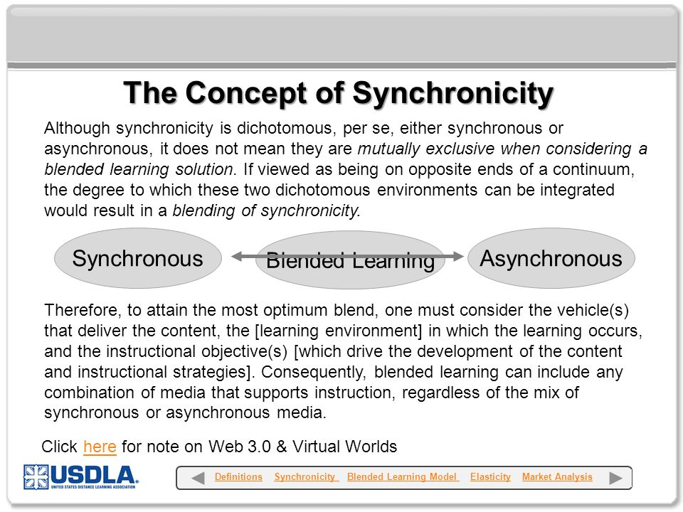 Although synchronicity is dichotomous, per se, either synchronous or asynchronous, it does not mean they are mutually exclusive when considering a blended learning solution.