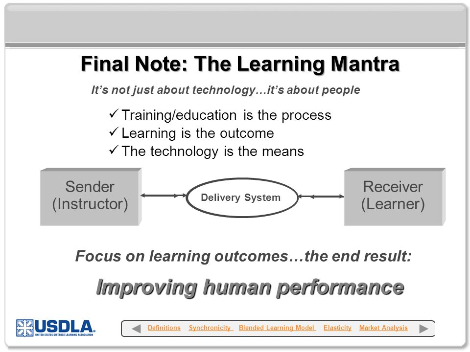 Collaboration + Teamwork = Success It's not just about technology…it's about people Training/education is the process Learning is the outcome The technology is the means Receiver (Learner) Sender (Instructor) Delivery System Focus on learning outcomes…the end result: Improving human performance Final Note: The Learning Mantra Definitions Synchronicity Blended Learning Model Elasticity Market AnalysisDefinitionsSynchronicity Blended Learning Model ElasticityMarket Analysis
