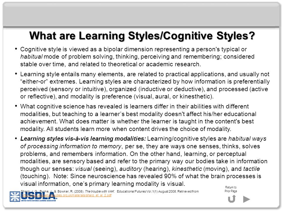 What are Learning Styles/Cognitive Styles.