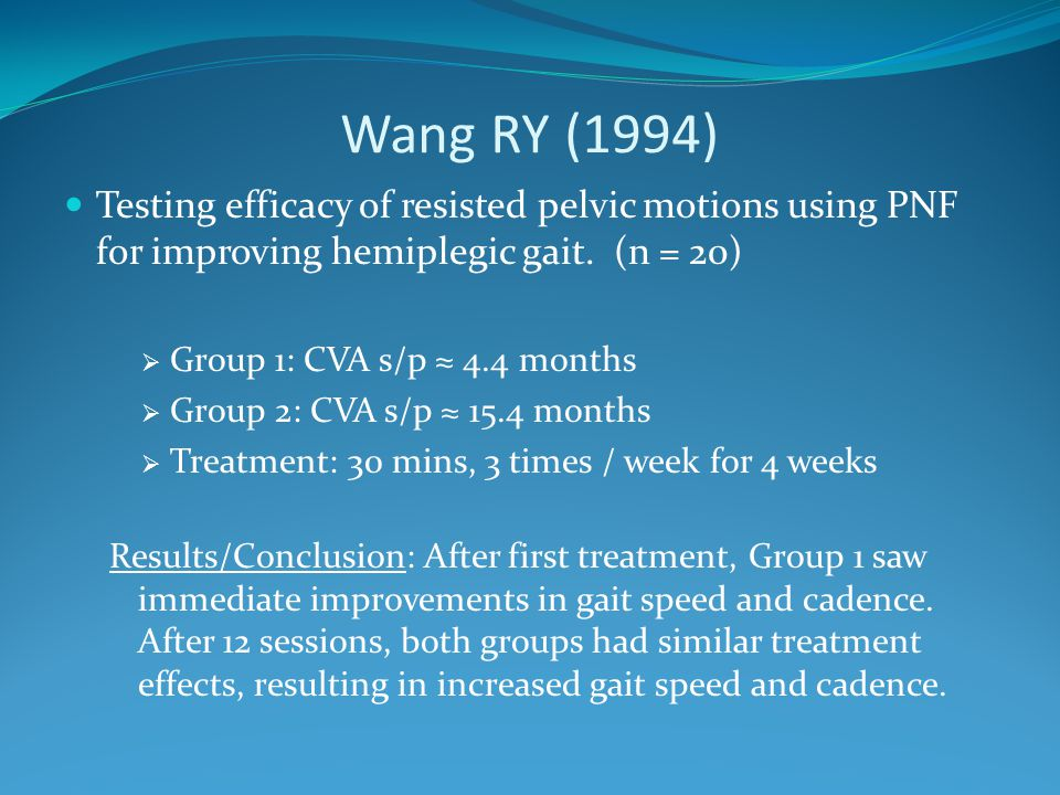 Wang RY (1994) Testing efficacy of resisted pelvic motions using PNF for improving hemiplegic gait. (n = 20)  Group 1: CVA s/p ≈ 4.4 months  Group 2