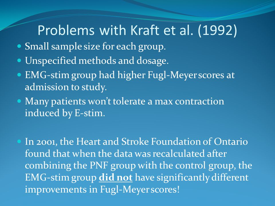 Problems with Kraft et al. (1992) Small sample size for each group. Unspecified methods and dosage. EMG-stim group had higher Fugl-Meyer scores at adm