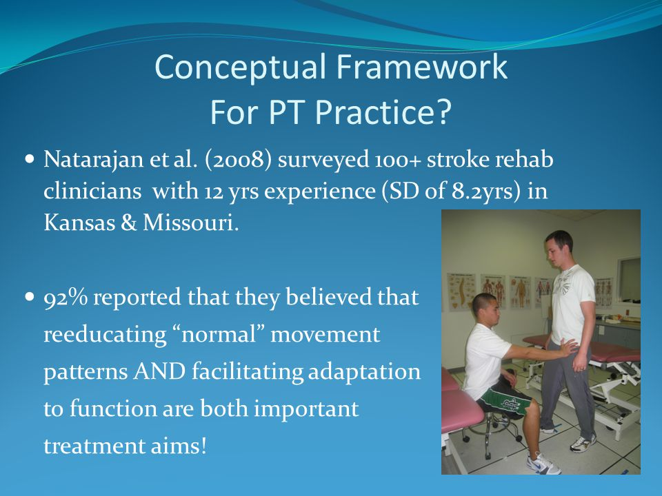 Conceptual Framework For PT Practice? Natarajan et al. (2008) surveyed 100+ stroke rehab clinicians with 12 yrs experience (SD of 8.2yrs) in Kansas &