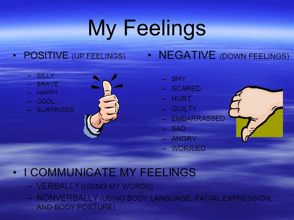 My Feelings POSITIVE (UP FEELINGS) –SILLY –BRAVE –HAPPY –COOL –SURPRISED I COMMUNICATE MY FEELINGS –VERBALLY (USING MY WORDS) –NONVERBALLY (USING BODY