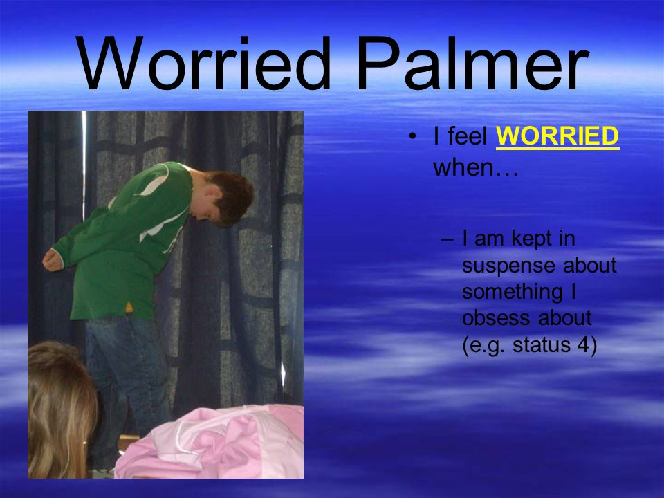 Worried Palmer I feel WORRIED when… –I am kept in suspense about something I obsess about (e.g. status 4)