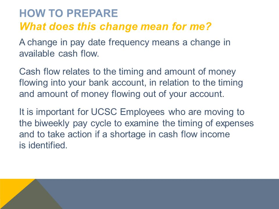 HOW TO PREPARE What does this change mean for me? A change in pay date frequency means a change in available cash flow. Cash flow relates to the timin