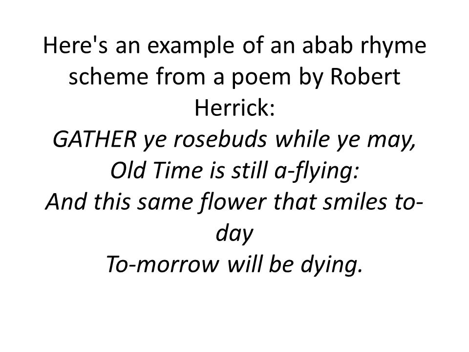 Here s an example of an abcb rhyme scheme.