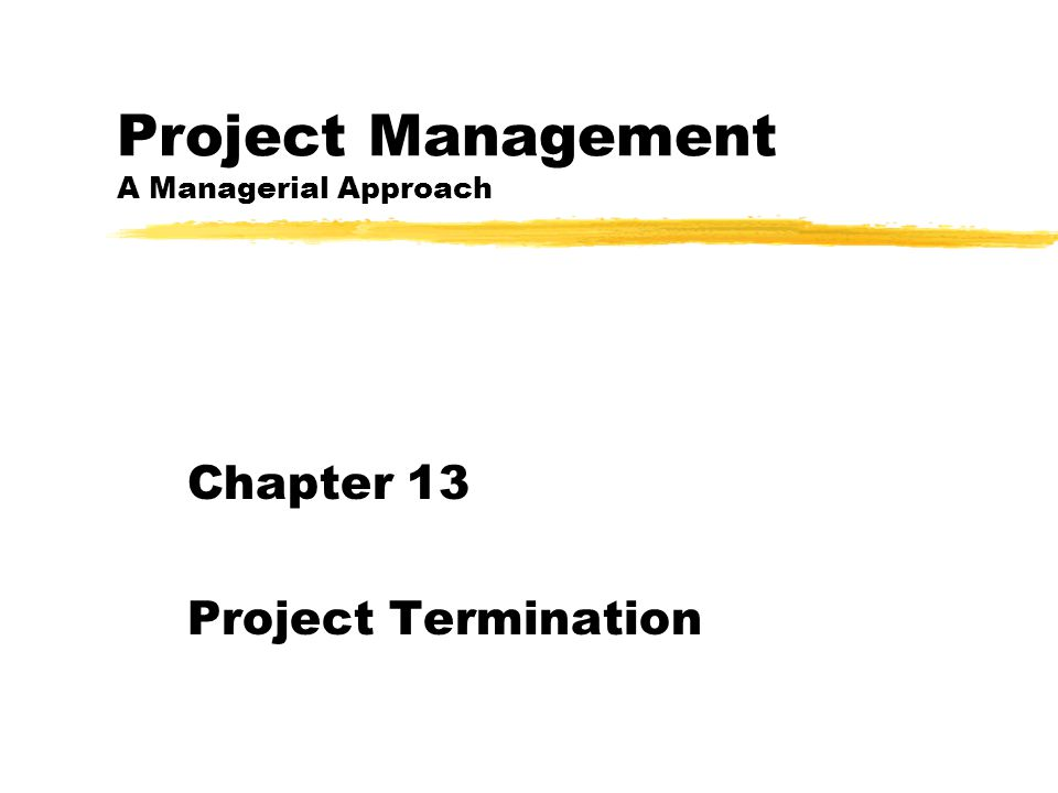 Project Management A Managerial Approach Chapter 13 Project Termination