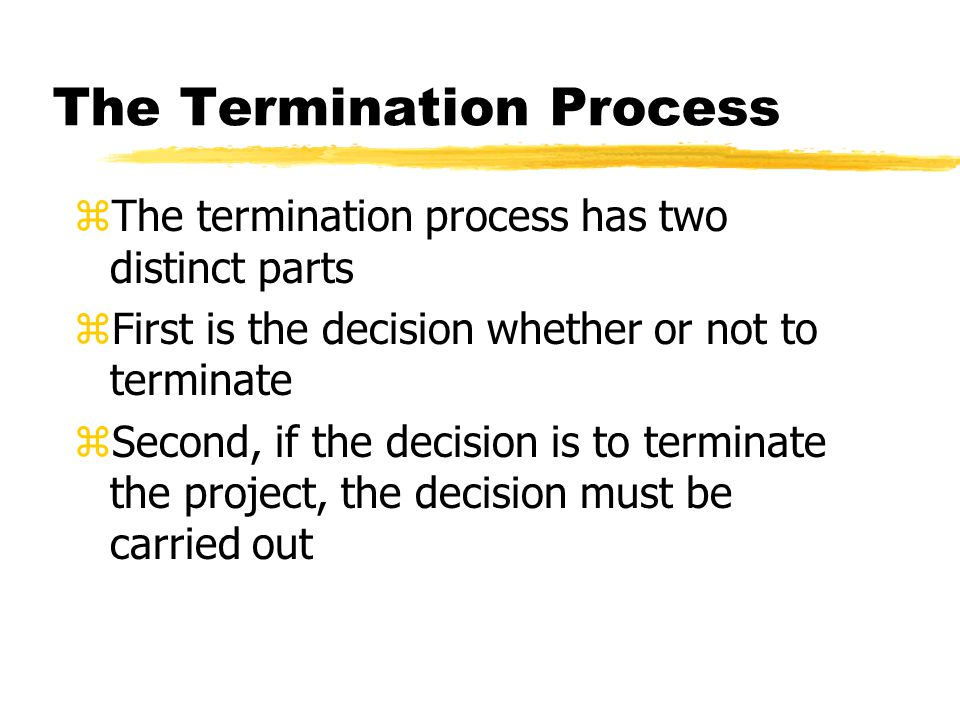 The Termination Process zThe termination process has two distinct parts zFirst is the decision whether or not to terminate zSecond, if the decision is to terminate the project, the decision must be carried out