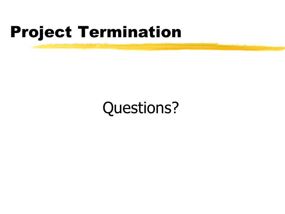 Project Termination Questions?