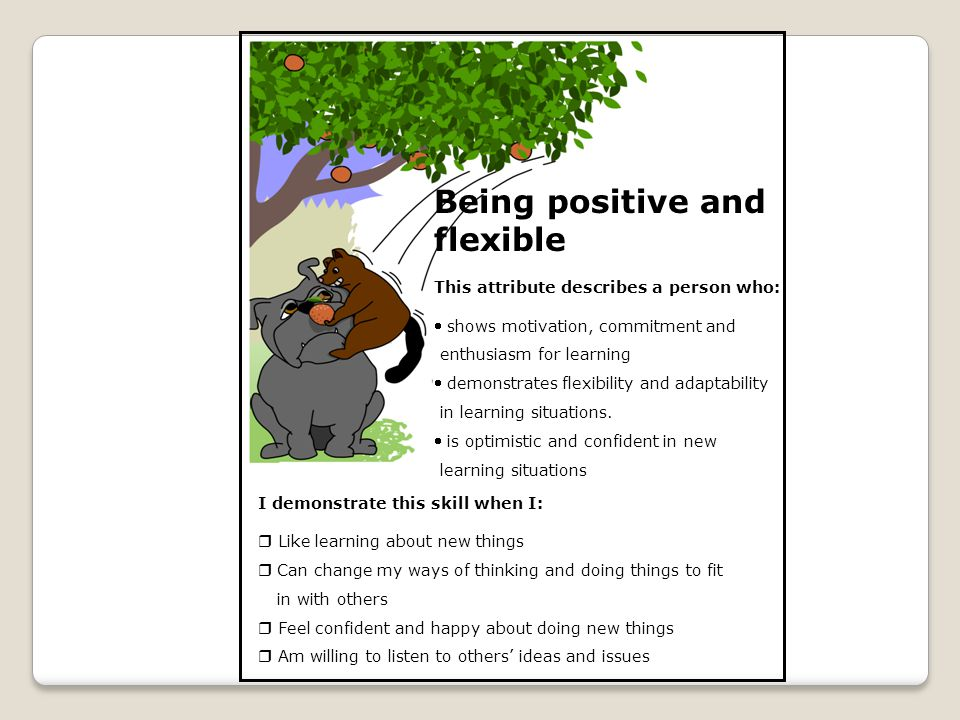 Being positive and flexible This attribute describes a person who:  shows motivation, commitment and enthusiasm for learning  demonstrates flexibili