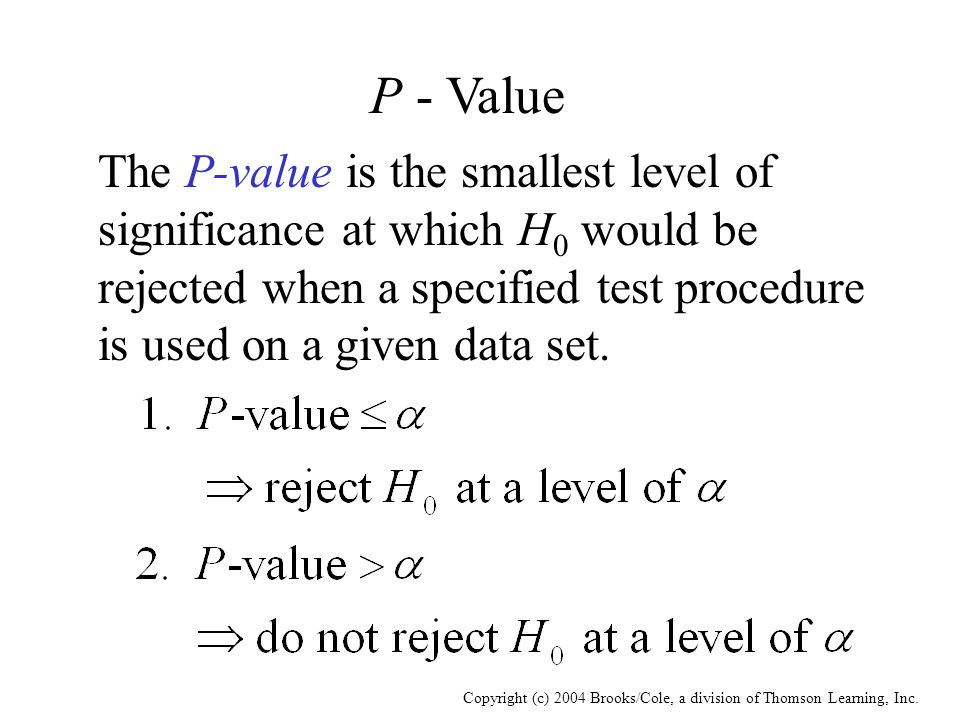 Copyright (c) 2004 Brooks/Cole, a division of Thomson Learning, Inc. P - Value The P-value is the smallest level of significance at which H 0 would be