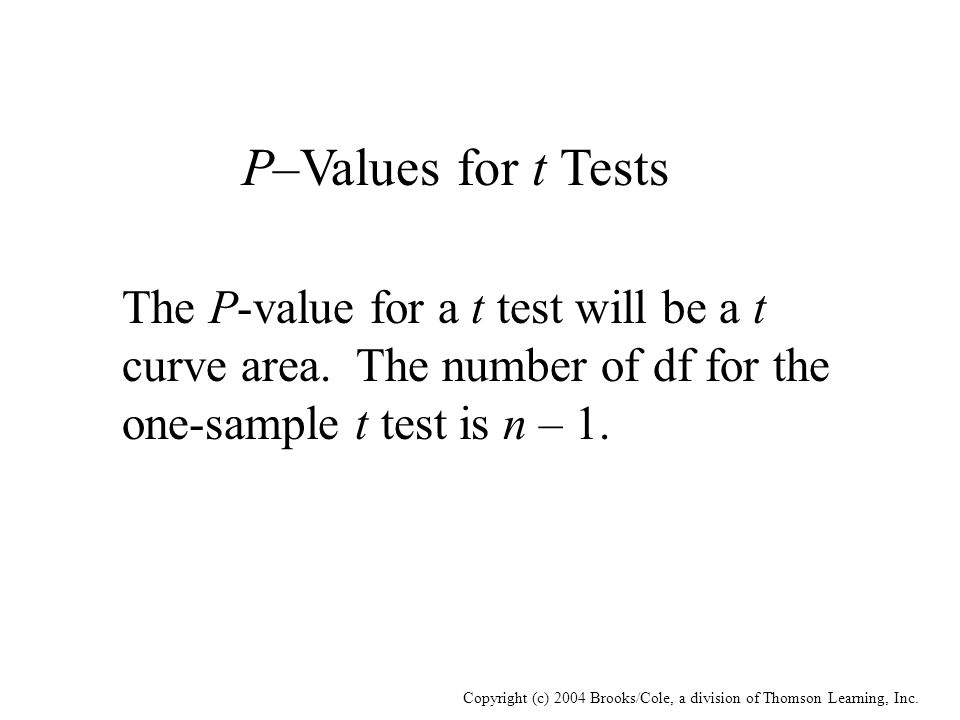 Copyright (c) 2004 Brooks/Cole, a division of Thomson Learning, Inc. P–Values for t Tests The P-value for a t test will be a t curve area. The number