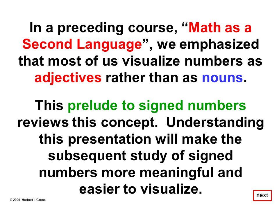 Adjective Noun 0 1 2 3 4 5 6 7 8 9 Adjective Noun © 2006 Herbert I. Gross next