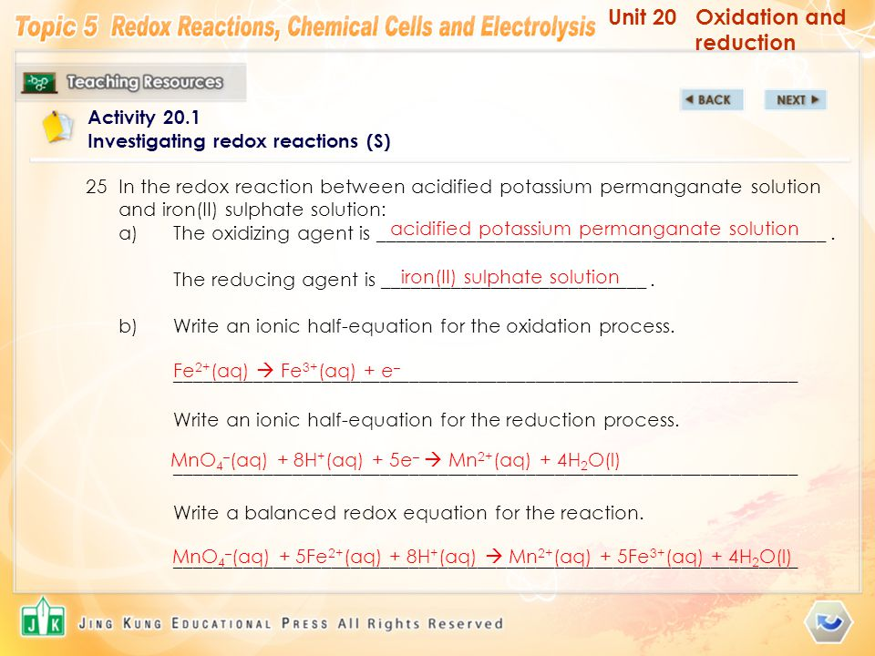 Unit 20Oxidation and reduction Activity 20.1 Investigating redox reactions (S) 25In the redox reaction between acidified potassium permanganate soluti