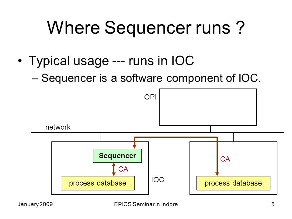 January 2009EPICS Seminar in Indore6 Another usage --- runs in OPI –Sequencer (Ver.