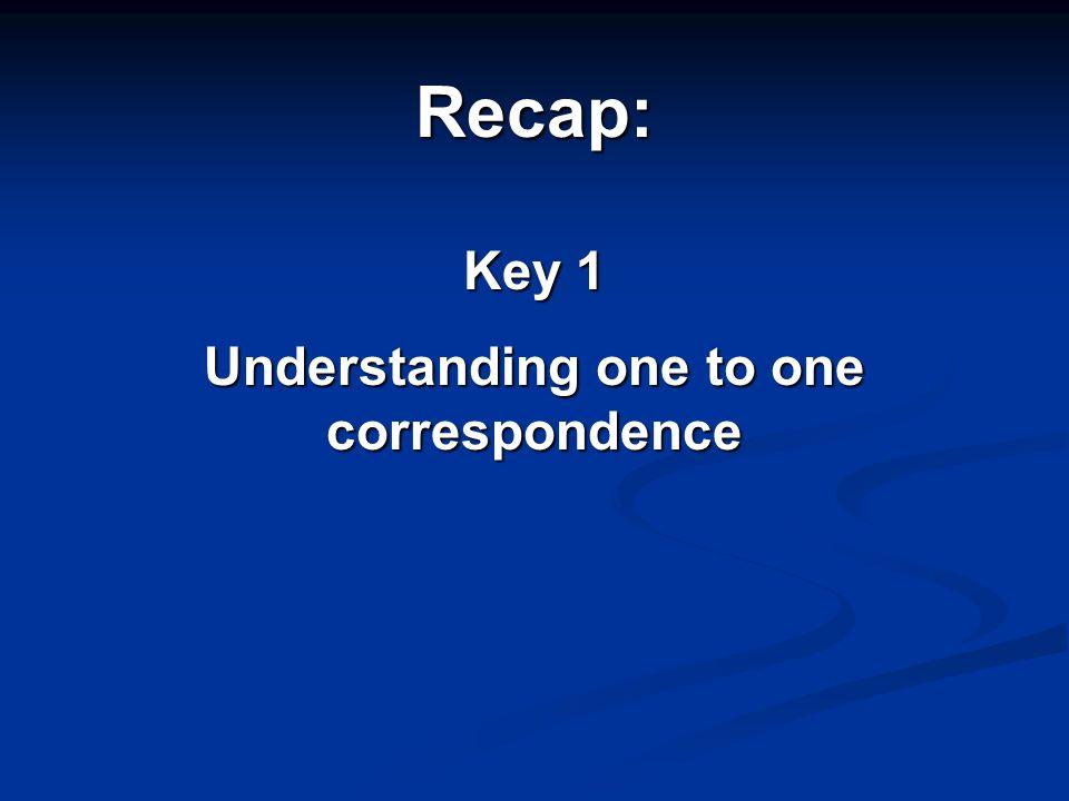 Recap: Key 1 Understanding one to one correspondence