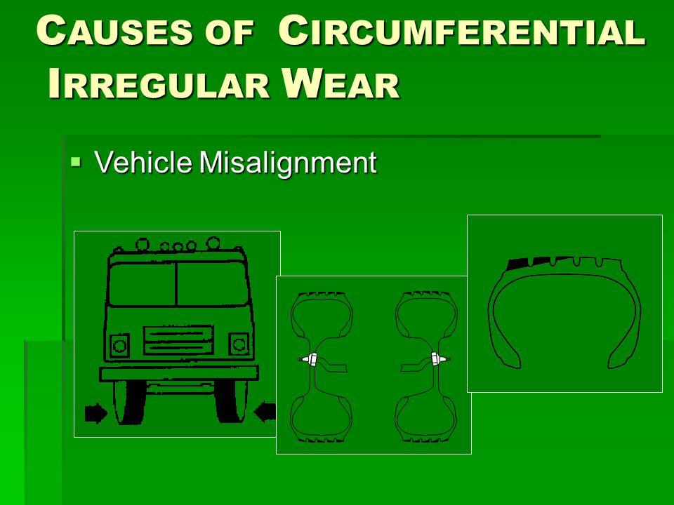 C AUSES OF C IRCUMFERENTIAL I RREGULAR W EAR I RREGULAR W EAR  Vehicle Misalignment