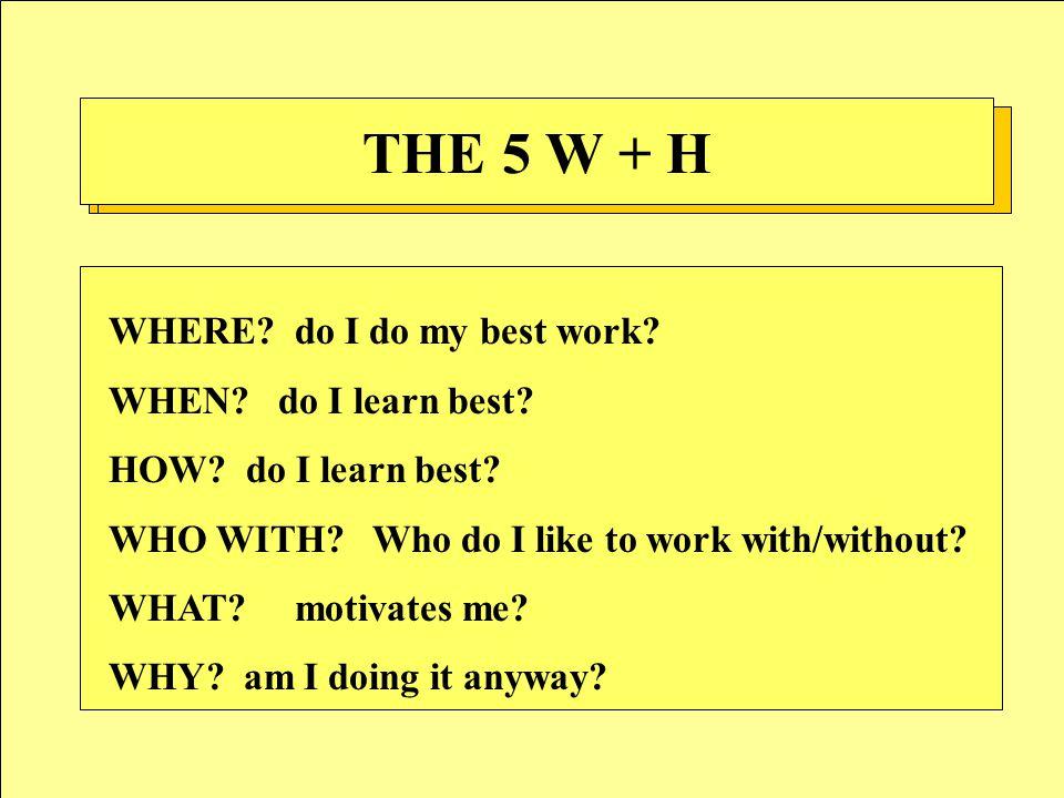 THE 5 W + H WHERE.do I do my best work. WHEN. do I learn best.