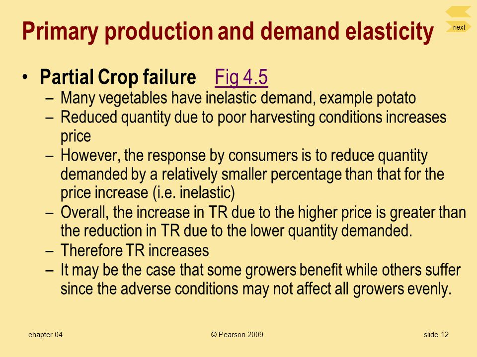 next chapter 04© Pearson 2009slide 11 Application of Price elasticity Price changes impact on total revenue Fig 4.4Fig 4.4 –Total Revenue = Price x Qu