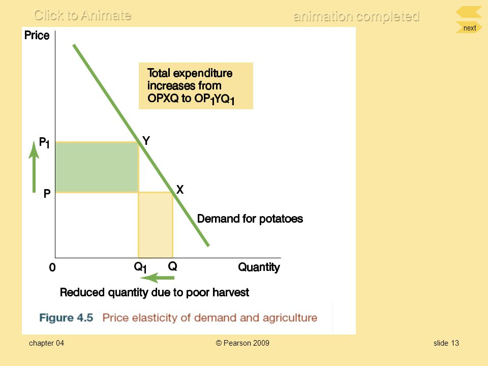 next chapter 04© Pearson 2009slide 12 Primary production and demand elasticity Partial Crop failure Fig 4.5Fig 4.5 –Many vegetables have inelastic dem