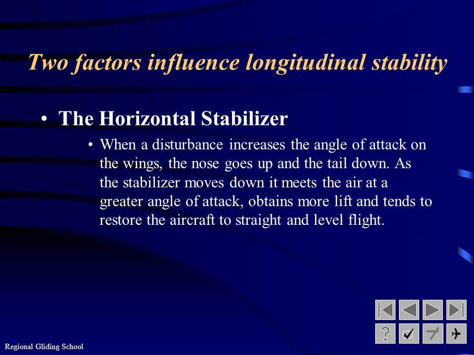 Regional Gliding School Longitudinal Stability Longitudinal Stability is pitch stability or stability around the lateral axis of the airplane.