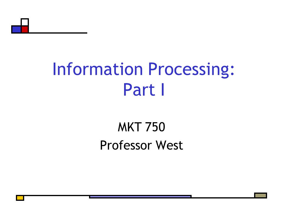 Information Processing: Part I MKT 750 Professor West