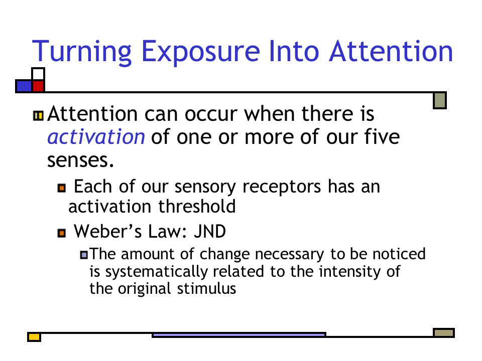 Turning Exposure Into Attention Attention can occur when there is activation of one or more of our five senses.