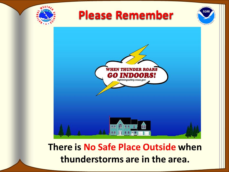 Please Remember There is No Safe Place Outside when thunderstorms are in the area.