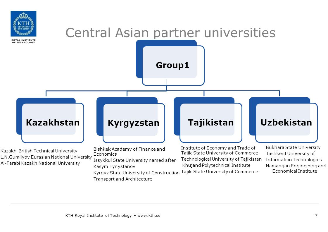 Central Asian partner universities 7 Group 1 Group 2 WHEN? KTH Royal Institute of Technology www.kth.se Institute of Economy and Trade of Tajik State