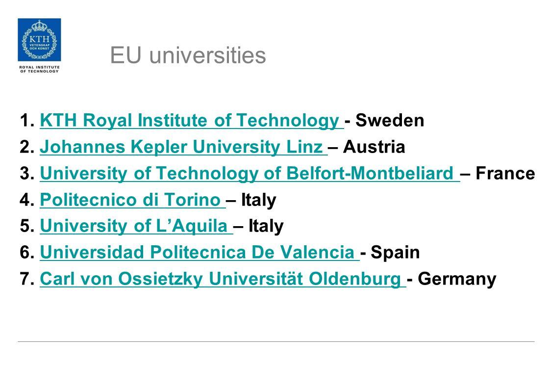 EU universities 1. KTH Royal Institute of Technology - SwedenKTH Royal Institute of Technology 2.