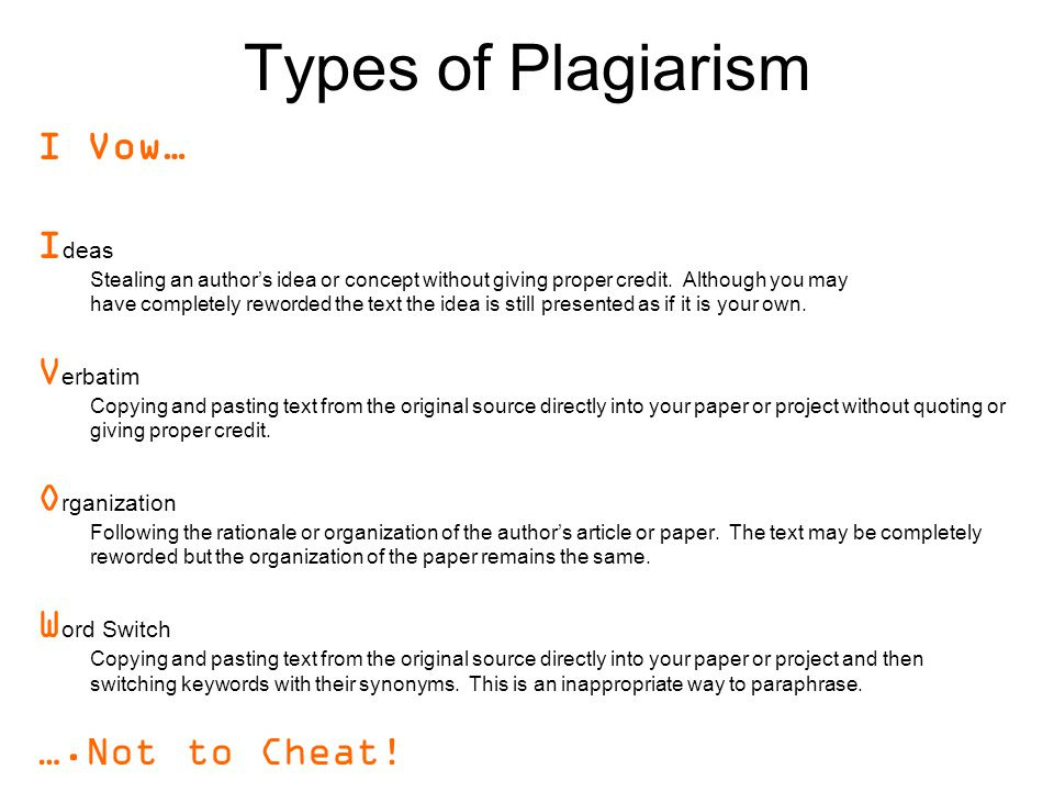 Types of Plagiarism I Vow… I deas Stealing an author's idea or concept without giving proper credit.