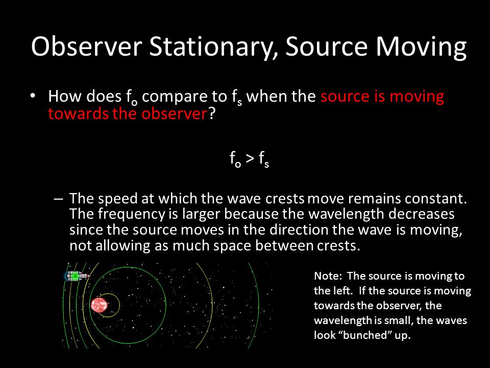Observer Stationary, Source Moving How does f o compare to f s when the source is moving towards the observer? How does f o compare to f s when the so