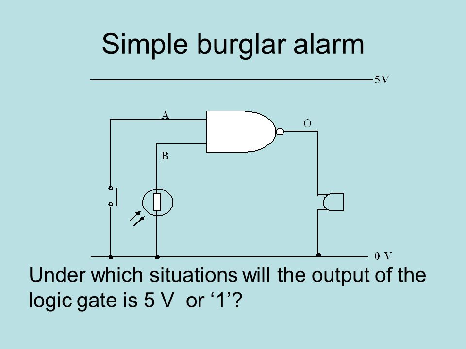 Simple burglar alarm Under which situations will the output of the logic gate is 5 V or '1'?
